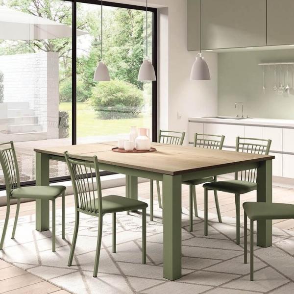 Chaise de cuisine verte en métal et synthétique - Viva - 12