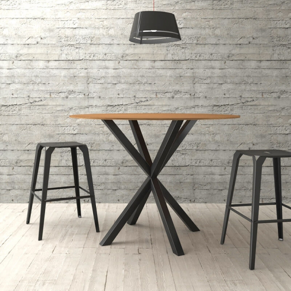 Pied de table central design métallique noir forme Mikado - Rosace - 3