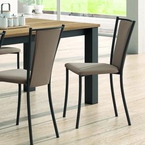 Chaise de cuisine rembourrée en métal et synthétique - Reina