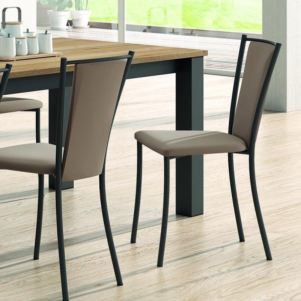 Chaise de cuisine contemporaine en métal et synthétique - Reina