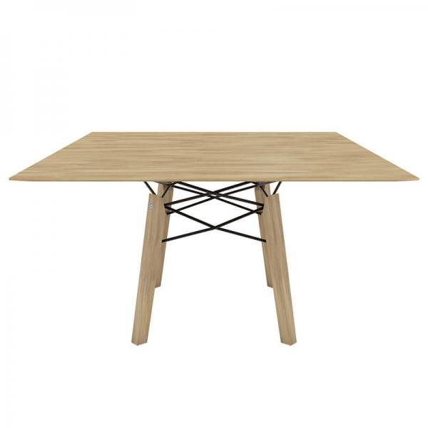 Table design vintage carrée en bois massif naturel - Gravity Mobitec® - 7