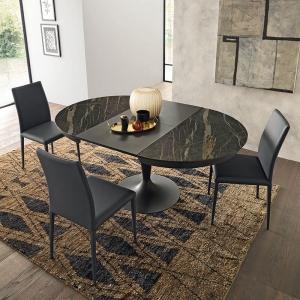 Table ronde en céramique extensible pied tulipe  - Sun