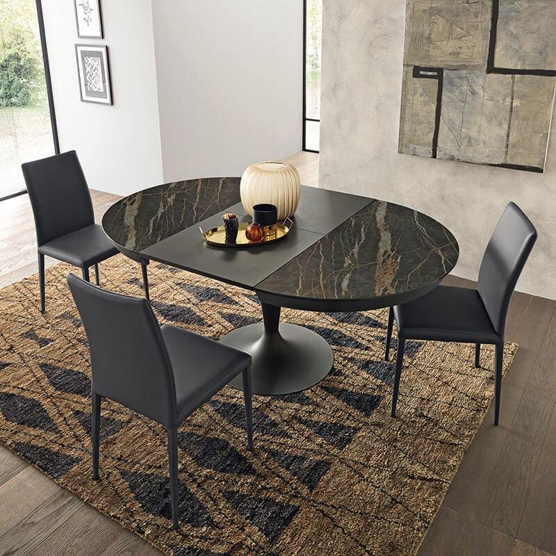 Table ronde en c ramique extensible pied tulipe sun 4 - Table salle a manger plateau ceramique ...