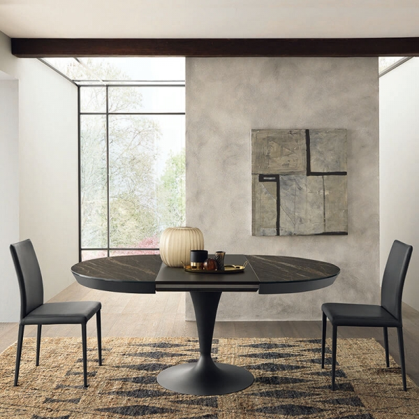 Table ronde en céramique noire avec allonges pied tulipe  - Sun - 4