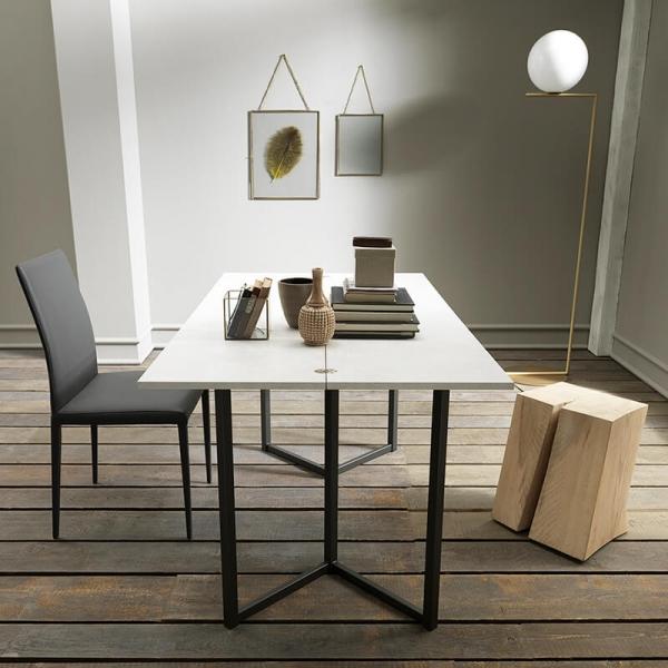 Table console extensible transformable en table en mélaminé - Flap - 7