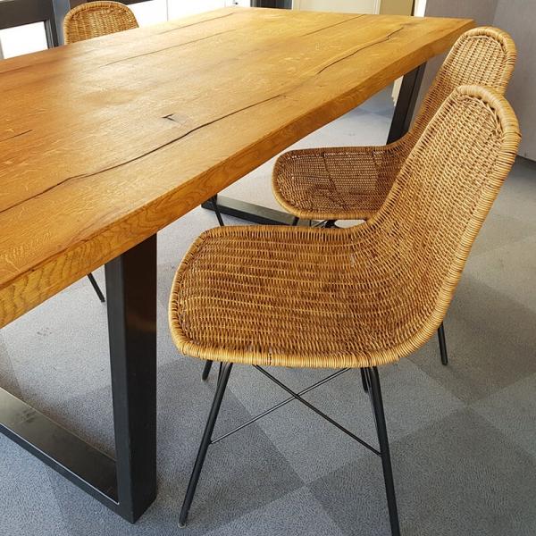 Chaise tressée naturel bohème avec pieds Eiffel - Bornéo - 13