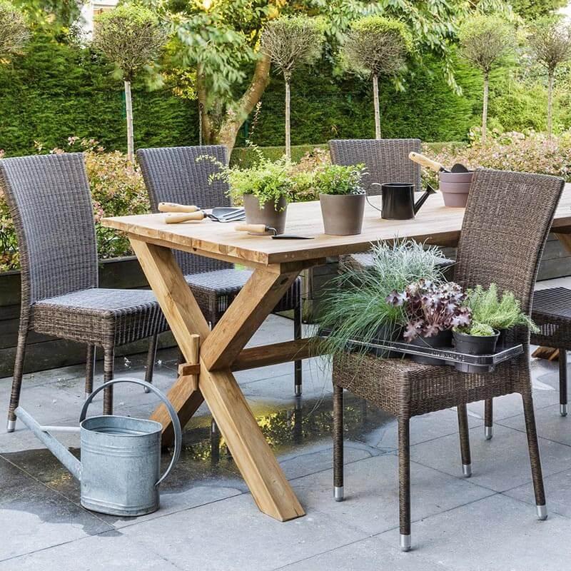 Chaise de jardin tress e en r sine effet chin isabelle - Chaise de jardin en resine ...