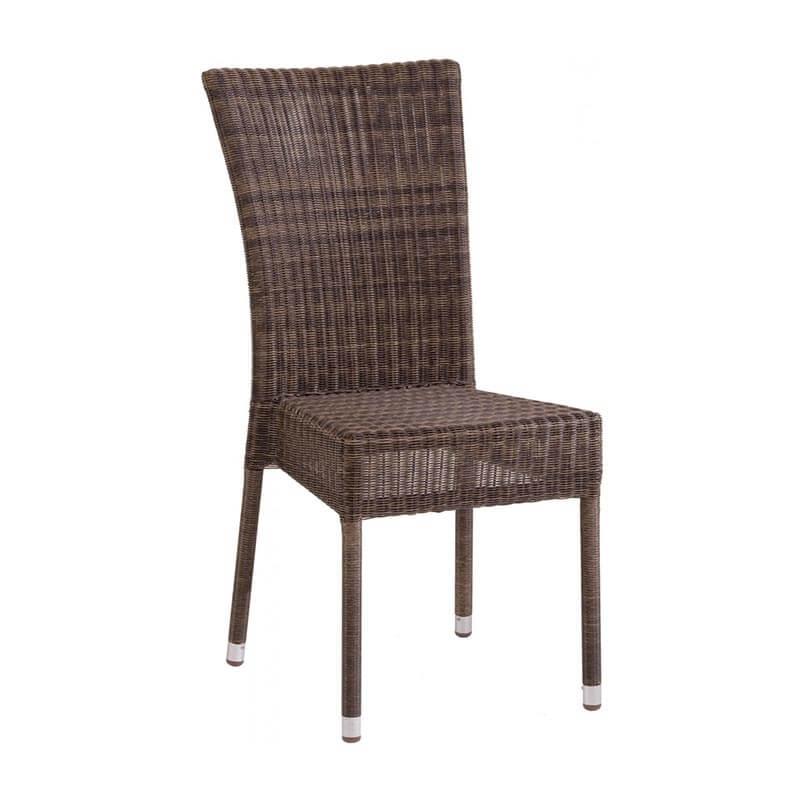 Chaise de jardin tressée en résine effet chiné - Isabelle | 4-pieds.com