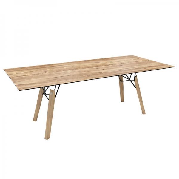 Table design vintage rectangulaire en placage bois - Gravity Mobitec® - 6