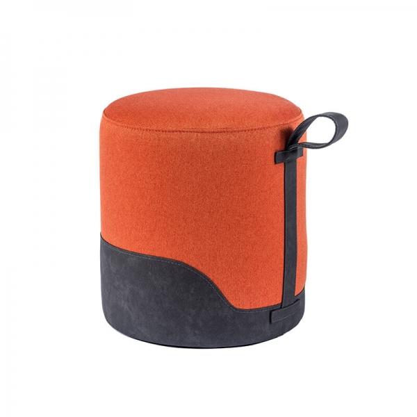 Pouf forme ronde orange - Edith - 17