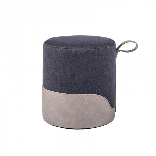 Pouf rond gris bicolore - Edith - 20