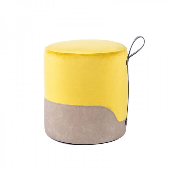 Pouf rond jaune bicolore - Edith - 22