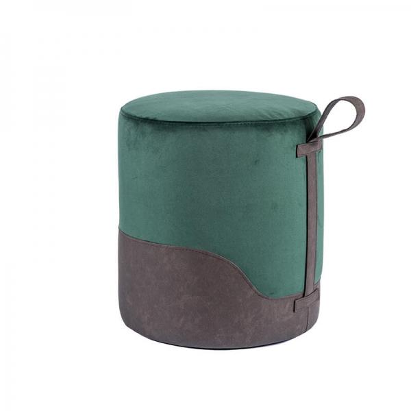 Pouf rond vert bicolore - Edith - 25