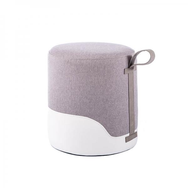 Pouf rond gris bicolore - Edith - 27