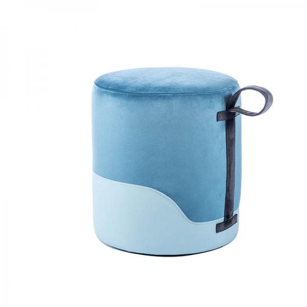 Pouf rond bleu bicolore - Edith - 29