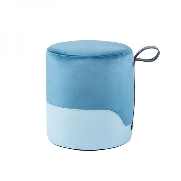 Pouf bleu bicolore - Edith - 30