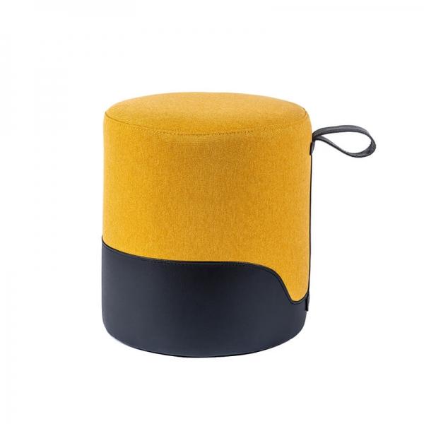 Pouf rond jaune bicolore - Edith - 32