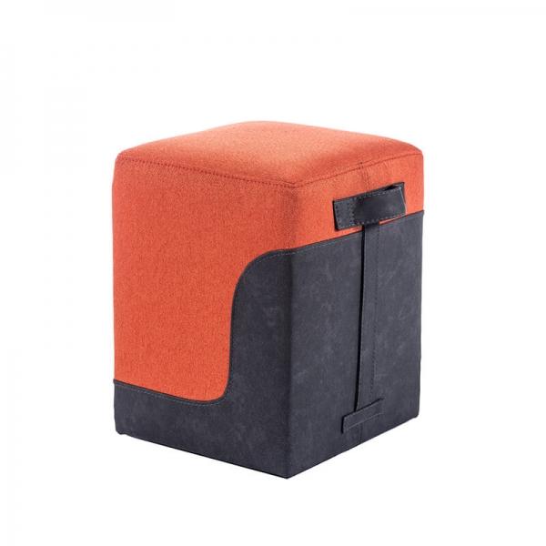 Pouf carré bicolore orange - Piaf - 6