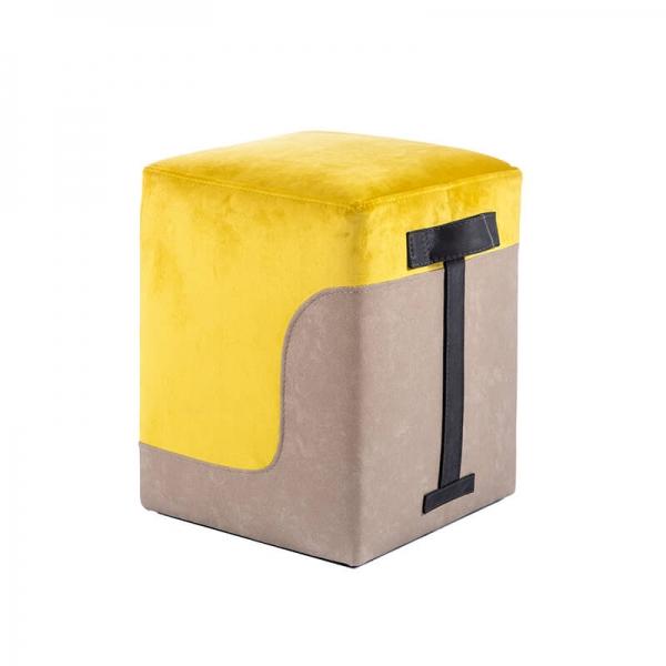 Pouf carré bicolore jaune - Piaf - 10