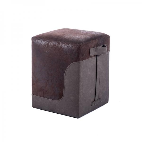 Pouf carré bicolore vintage - Piaf - 12