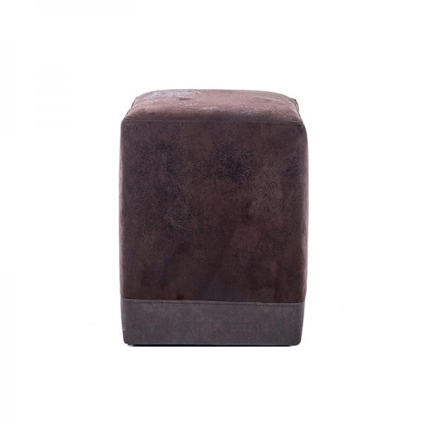 Pouf cube bicolore marron vintage - Piaf - 13
