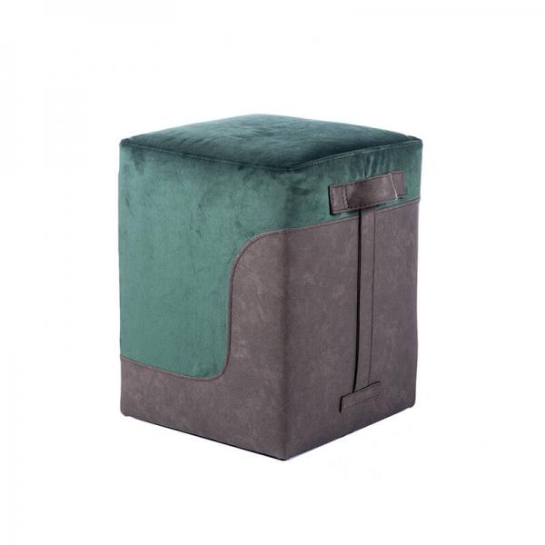 Pouf carré bicolore vert - Piaf - 14
