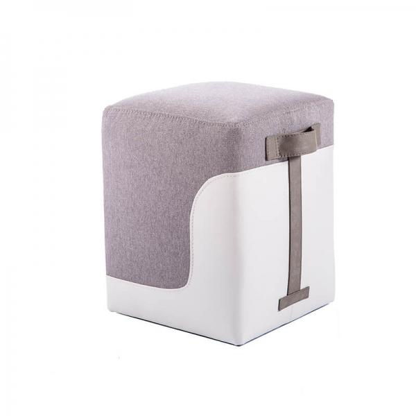 Pouf carré bicolore gris clair - Piaf - 16