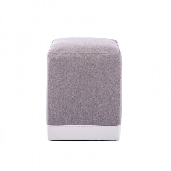Pouf cube bicolore gris clair - Piaf - 17