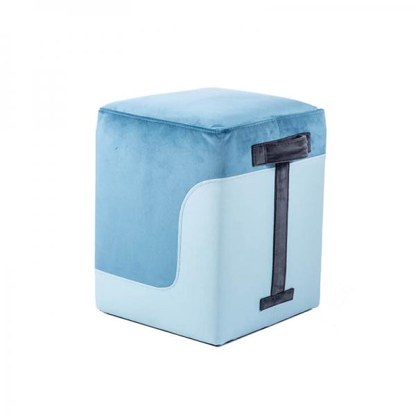 Pouf carré bicolore bleu - Piaf - 18