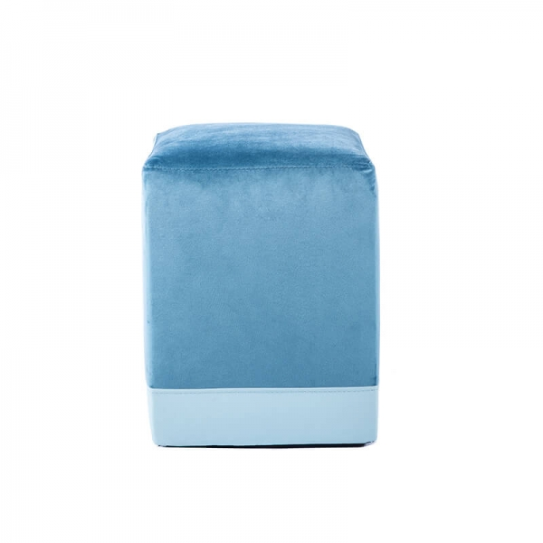 Pouf cube bicolore bleu - Piaf - 19