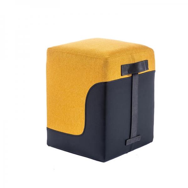 Pouf carré bicolore jaune et gris - Piaf - 20