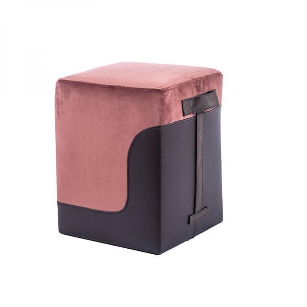 Pouf cube bicolore marron et gris - Piaf - 22