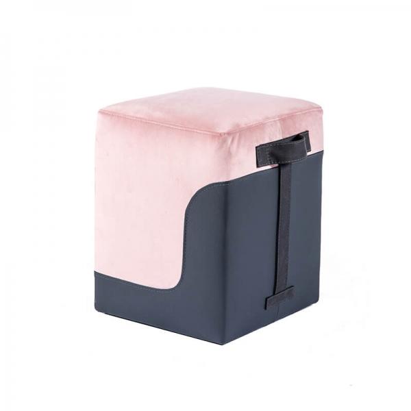 Pouf carré bicolore rose et gris - Piaf - 24