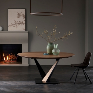 Table ronde design style industriel avec pied central en V - Toledo West