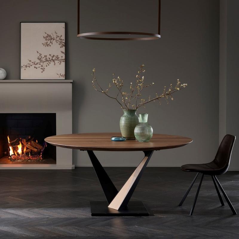 Table design industriel ronde pied central en V - Toledo