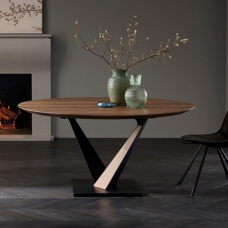 table design industriel ronde pied central en v toledo west
