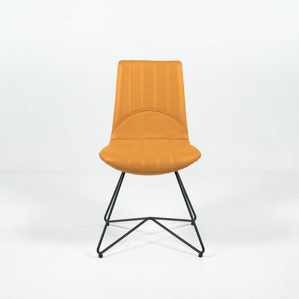 Chaise rétro design en cuir ocre et pieds en métal - Akita - 4