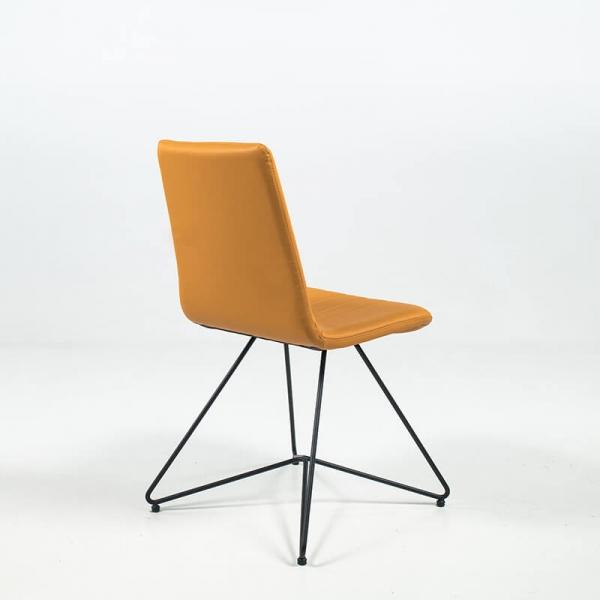 Chaise rétro design en cuir et pieds en métal - Akita - 6
