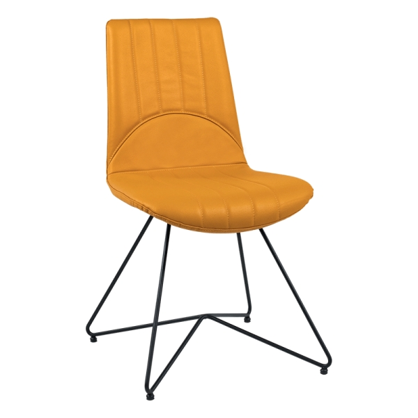 Chaise design vintage en cuir ocre et pieds en métal noir - Akita - 1