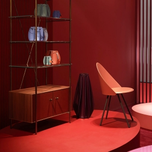 Chaise italienne vintage en croûte de cuir - Amika