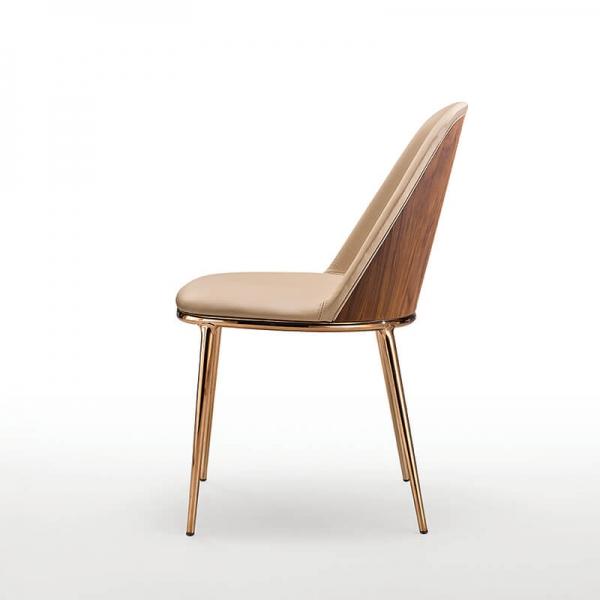 Chaise design italienne avec dos du dossier en bois - Léa Midj® - 1