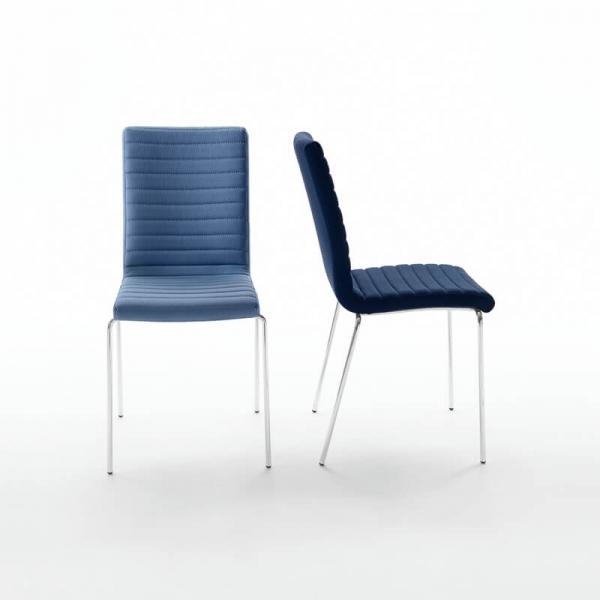 Chaise tendance empilable en tissu bleu et acier chromé - Krono Midj® - 11