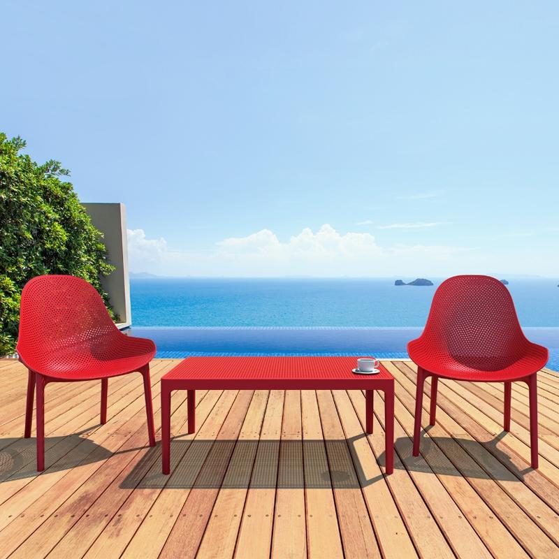 Table basse de jardin rectangulaire en résine - Sky
