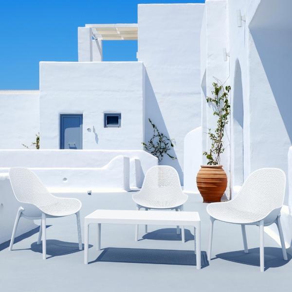 table basse d'extérieur blanche en résine Sky 104 - 3