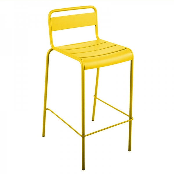 Tabouret de bar en métal d'extérieur jaune made in France - Lutetia - 1