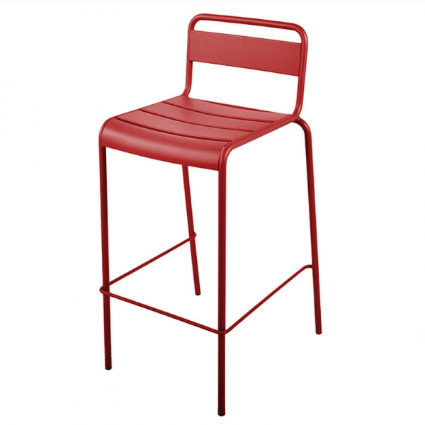 Tabouret de bar d'extérieur rouge made in France - Lutetia - 6