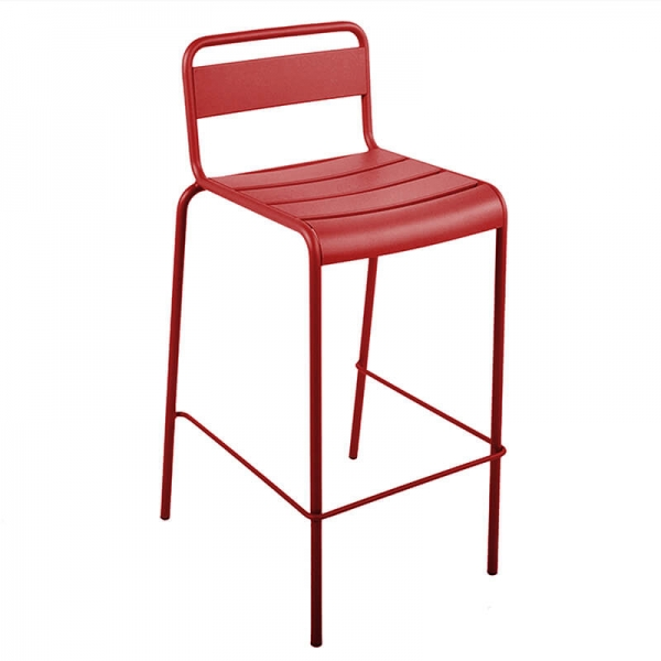 Tabouret de bar en métal d'extérieur rouge made in France - Lutetia - 5