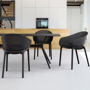 Fauteuil design en polypropylène noir - Sky