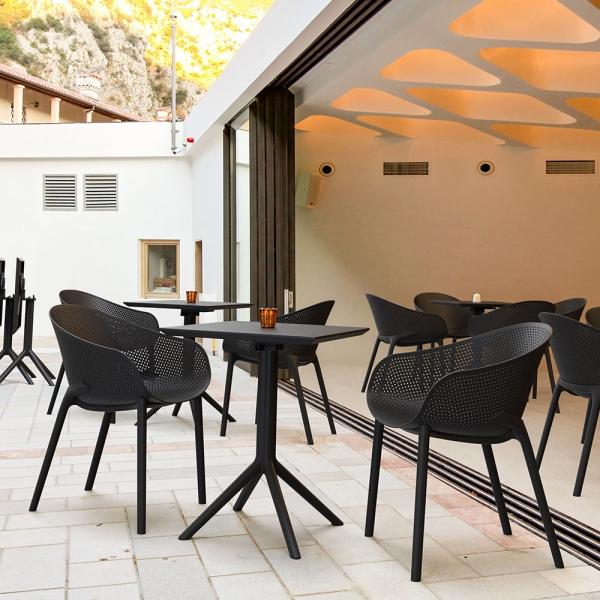 Fauteuil de jardin design en polypropylène noir - Sky - 3