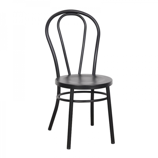 Chaise bistrot vintage en métal noir - Madina - 1